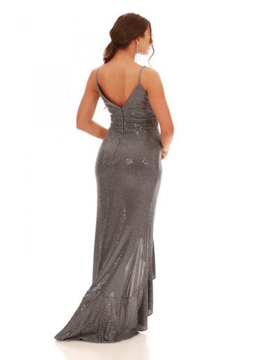 Carmen Gri Volan Yırtmaçlı Uzun Balık Abiye Elbise Gri